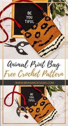 Animal print is all the fashion rage right now, and this crochet pattern helps you create your own personalized bag. What better way to celebrate the beauty of animals than through a cruelty-free crochet bag? Animal print is really big right now and I just love the look of being able to combine spots and stripes. #animalprint #crochetbag #crocheting #crochetpattern #freecrochetpattern