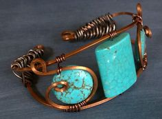 Saltillo Turquoise Wire Wrapped Cuff by marokel on Etsy, $18.00