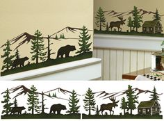 "Woodland Wall Border Decorative Decals Set of 8 silhouette decals can be positioned, removed and repositioned. Wipe clean plastic. Design is repeating so you can use multiple sets to create a border. Each decal measures 14""L x 6""H. -  15oo See more at: http://www.collectionsetc.com/Product/woodland-wall-border-decorative-decals.aspx/_/N-14bl8#sthash.38yulyDl.dpuf"