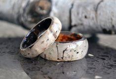Real birch bark ring natural ring birch wood rings by VyTvir