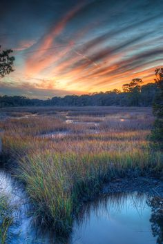 Marsh Sunset. Jekyll Island, GA. I would love to have this framed and on my wall. #AmericaBound @Sheila Collette Farm