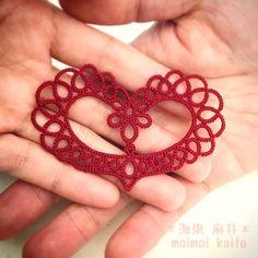 'The Heart' #tatting #lace #originaldesign #originalpattern #motif #heart #valentine #love #with #withhusband #hand # Tatting # original design # Heart # Valentine # motif #maimaikaito