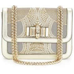Christian Louboutin Sweet Charity Small Egypt Laser-Cut Shoulder Bag ($2,695) ❤ liked on Polyvore featuring bags, handbags, shoulder bags, purses, bolsas, clutches, gold, mini crossbody handbags, white handbags and white crossbody handbags