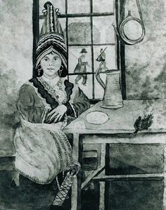 """Denmy Sockbain, daughter of Francis Joseph, Gov. of the Passamaquoddy, 1817. - The Passamaquoddy are a First Nations people who live in north east North America. Peskotomuhkat, the name they apply to themselves, literally means """"pollock spearer"""", reflecting the importance of this fish. They preferred spear-fishing. Repeatedly moved off their original lands by European settlers since the 16th century, they currently live in the Indian Township Reservation in eastern Washington County, Maine."""