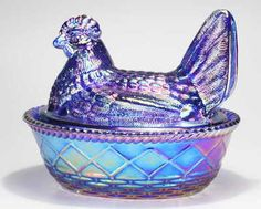 Dazzling Cobalt Carnival Glass Hen On Nest Covered Candy Bowl Nut Dish .