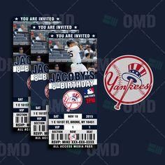 2.5x6 New York Yankees Sports Party Invitation, Sports Tickets Invites, Baseball Birthday Theme Party Template by sportsinvites