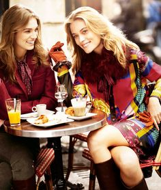 Max Mara - love this scene with fun fall clothes, outdoor cafe, and girl talk Ladies Who Lunch, Gal Pal, Brunette Girl, A Perfect Day, Gilmore Girls, Friends Forever, Lady, Girlfriends, My Style