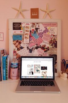 Cork board over laptop. Love
