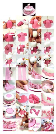 Hello kitty how to Hello Kitty Torte, Hello Kitty Fondant, Hello Kitty Birthday, Cake Topper Tutorial, Fondant Tutorial, Fondant Toppers, Fondant Bow, Fondant Flowers, New Cake