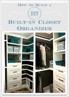 How to build a DIY Closet Organizer for a closet makeover or closet remodel. Build closet storage drawers and shelving for your walk-in closet. Free tutorial to add built-in storage to your closet. Closet Storage Drawers, Bathroom Closet Organization, Closet Organizer With Drawers, Diy Drawers, Closet Shelves, Diy Storage, Shoe Storage, Bathroom Drawers, Diy Organizer