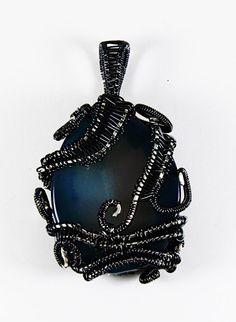 Blue Wire Wrap Pendant, Blue Wire Wrap Cabochon, Blue Agate Pendant, Elegant Blue Agate Pendant