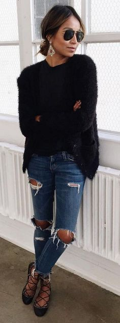 #spring #summer #street #style #outfitideas | Black Fuzzy Knit + Ripped Denim…