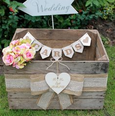 Vintage wooden wedding cards crate post box rustic shabby chic original mr & mrs in home, furniture & diy, wedding supplies, card boxes Wooden Card Box Wedding, Wedding Card Post Box, Wedding Boxes, Wedding Cards, Diy Wedding, Trendy Wedding, Wedding Ideas, Wedding 2017, Rustic Wedding