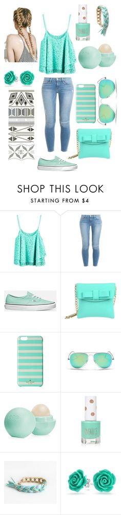 """""""Mint summer"""" by nosaj14 ❤ liked on Polyvore featuring Frame, Vans, La Fille Des Fleurs, Kate Spade, Ray-Ban, Eos, Topshop, Bling Jewelry and Flash Tattoos"""
