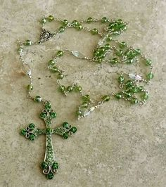 Genuine Austrian Crystal Peridot AB Holy Mother Silver Rosary w/Crystal Cross