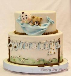 christening - Cake by grasie Torta Baby Shower, Baby Shower Cakes For Boys, Baby Boy Cakes, Baby Shower Cupcakes, Pretty Cakes, Beautiful Cakes, Amazing Cakes, Baby Christening Cakes, Decoration Patisserie
