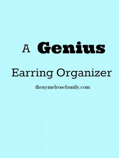 A Genius Earring Orgnaizer