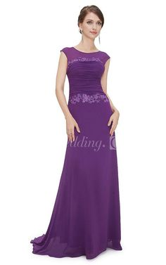 Cap-sleeved Modest Prom Dress With Sleeves, Ruching and Illusion Neck. Step out in this modest purple prom dress. Follow this board for other modest prom dresses under $100. The modest prom dress is selling out fast. #DorisWedding.com