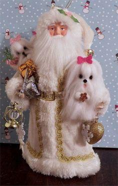 Shabby  Santa w/ needle felted Maltese  dogs  Christmas Ornament  OOAK  * CTD* #Christmas