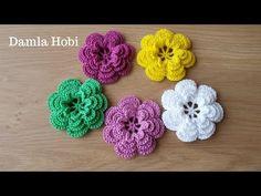 Tığ işi çiçek yapımı/Örgü modelleri - YouTube Crochet Brooch, Crochet Earrings, Crochet Hats, Crochet Leaves, Crochet Flowers, Flower Patterns, Crochet Patterns, Glitter Hair, Knitting Charts