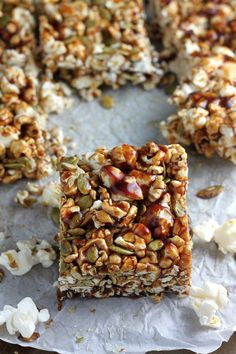 Healthy Pumpkin Spice Popcorn Bars