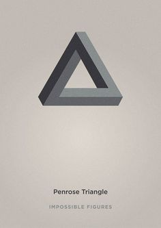"""A series of 5 posters featuring some of the most famous """"impossible figures"""", these optical illusions discovered by Oscar Reutersvärd (Penrose triangle) and Lionel & Roger Penrose (Penrose stairs)."""
