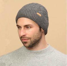 Winter plain gray beanie hats for men fleece knit hats