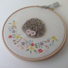 Hedgehog Embroidery Hoop Art  needle felted wall by BoxRoomBazaar