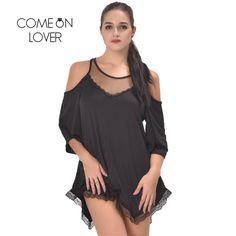 RI80190 Comeonlover Women Pajamas Sleepwear Plus Size Lingerie 5XL,7XL Hollow Shoulder Nightdress Exotic Sexy Lingerie Babydolls