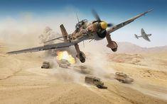 Download wallpapers Junkers Ju 87, Stuka, Sturzkampfflugzeug, Luftwaffe, Ju87R-2, Germany, double dive bomber, ground attack aircraft, World War II, German Air Force, Africa, desert, World of Warplanes