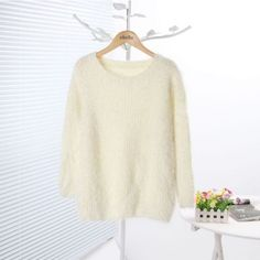 Classic White Fluffy Round Neck Sweater - Sweaters - Sweaters & Knits - Clothing - Women's Style Free Shipping