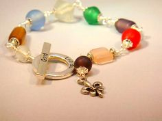 Glass Beads Wire Wrap  Fleur De Lis Beaded Bracelet by CKDesignsUS, $21.00