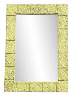 'Tulip' pattern ceiling tin framed antique mirror