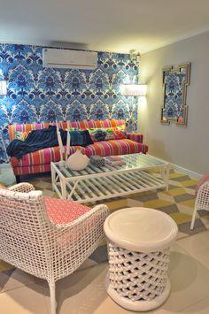 Beach house Clifton South Africa. Manuel Canovas fabrics and Cole & Son Wallpaper