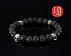 Mens skull bracelet - Black skull bracelet with silver plated  skulls. 8 mm beads of natural stones. 10 colors to choose!!!