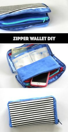 Leather Zipper Wallet DIY, with 2 inner zipper pockets and credit card pockets