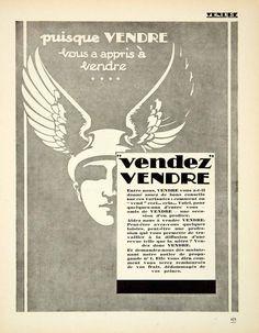 1927 Advertising Vendre Hermes Winged Helmet Promotion Publication French VENA3