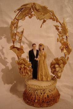 VINTAGE 1940's CHALK WEDDING CAKE TOPPER
