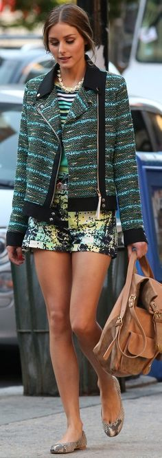 Great mix of textures and styles.. It works well. This is a great way to integrate a classic piece, like a structured jacket, into a contemporary look, by pairing with these cool shorts.. You could also pair up a classic jacket with jeans or a Boho skirt.
