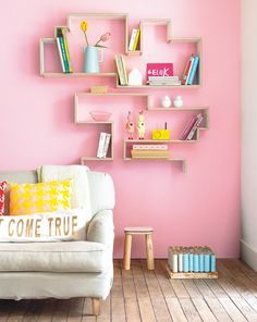 interior, living rooms, color design, inspiration, colors, wall organization, pastel pink, diy wall decorations, wall shelves
