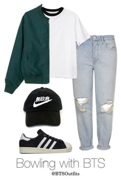 """""""Bowling with BTS"""" by btsoutfits ❤ liked on Polyvore featuring Topshop, adidas and Monki"""