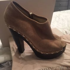 Too High Jimmy Choo suede platform Booty. Worn Once . Size 40  original box with original price Jimmy Choo Shoes Platforms