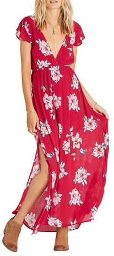 Billabong Flutter in the Rain Floral Print Maxi Dress