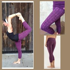 "Lululemon Ziggy Wee WU Pinkish purple color Wunder Under Crops.  Has a hot pink inner waist band. Hidden pocket inside waistband. GUC.  20"" inseam, front rise 8"" and back rise 11"". No pils, snags or holes. Pic 3 & 4 is actual crop. lululemon athletica Pants Capris"