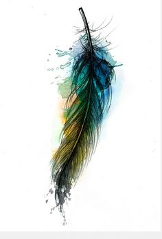 Watercolor Feather Tattoo Watercolor tattoo, maybe arrow Watercolor Tattoo Feather, Feather Art, Feather Tattoos, Watercolor Art, Tatoos, Raven Feather, Feather Design, Dandelion Tattoos, Watercolor Peacock