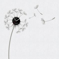 Hodiny se samolepkou Dandelion, černý ciferník