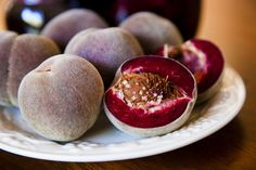 "These rare heirloom peaches (""Blackboy"") are incredibly delicious and beautiful, with a deep red wine color."