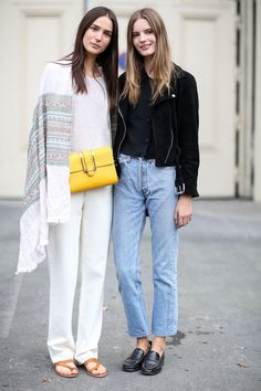 80 French Style Lessons To Learn Now #refinery29  http://www.refinery29.com/2014/10/75565/paris-street-style-photos-fashion-week-2014#slide-51  Do: Put your heads together.