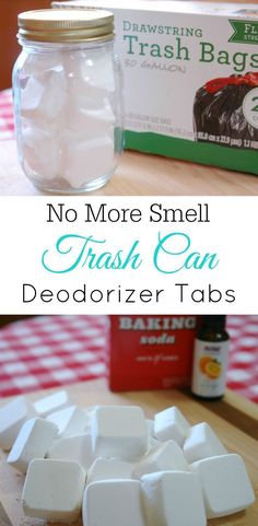Trash Can Deodorizer Tabs, smelly trash can, baking soda, air freshener, diy, essential oils