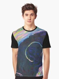 """""""Becoming"""" by Courtney Hatcher. Graphic t-shirt. Colorful transformation, expressive abstract artwork, whimsical painting, intuitive art, internal landscape, abstract landscape. Men's graphic t-shirt featuring colorful abstract art. Men's fashion, men's apparel, men's clothing, men's casual outfit. Colorful t-shirt, expressive art t-shirt, colorful swirls fashion, blue t-shirt. Functional art, wearable art. ©Courtney Hatcher All Rights Reserved Colorful Abstract Art, Abstract Landscape, Casual Outfits, Men Casual, Expressive Art, Men's Apparel, Swirls, Men's Clothing, Wearable Art"""